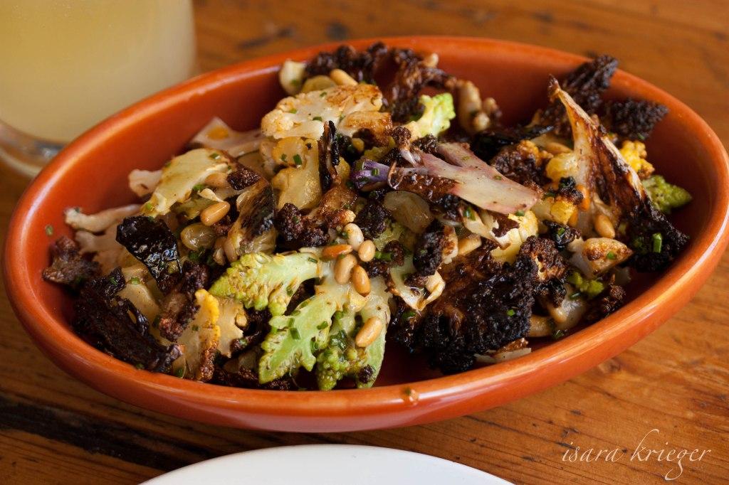 Coliflor a la Plancha; Cauliflower, pine nuts, golden raisins, pimenton de la vera, $9.
