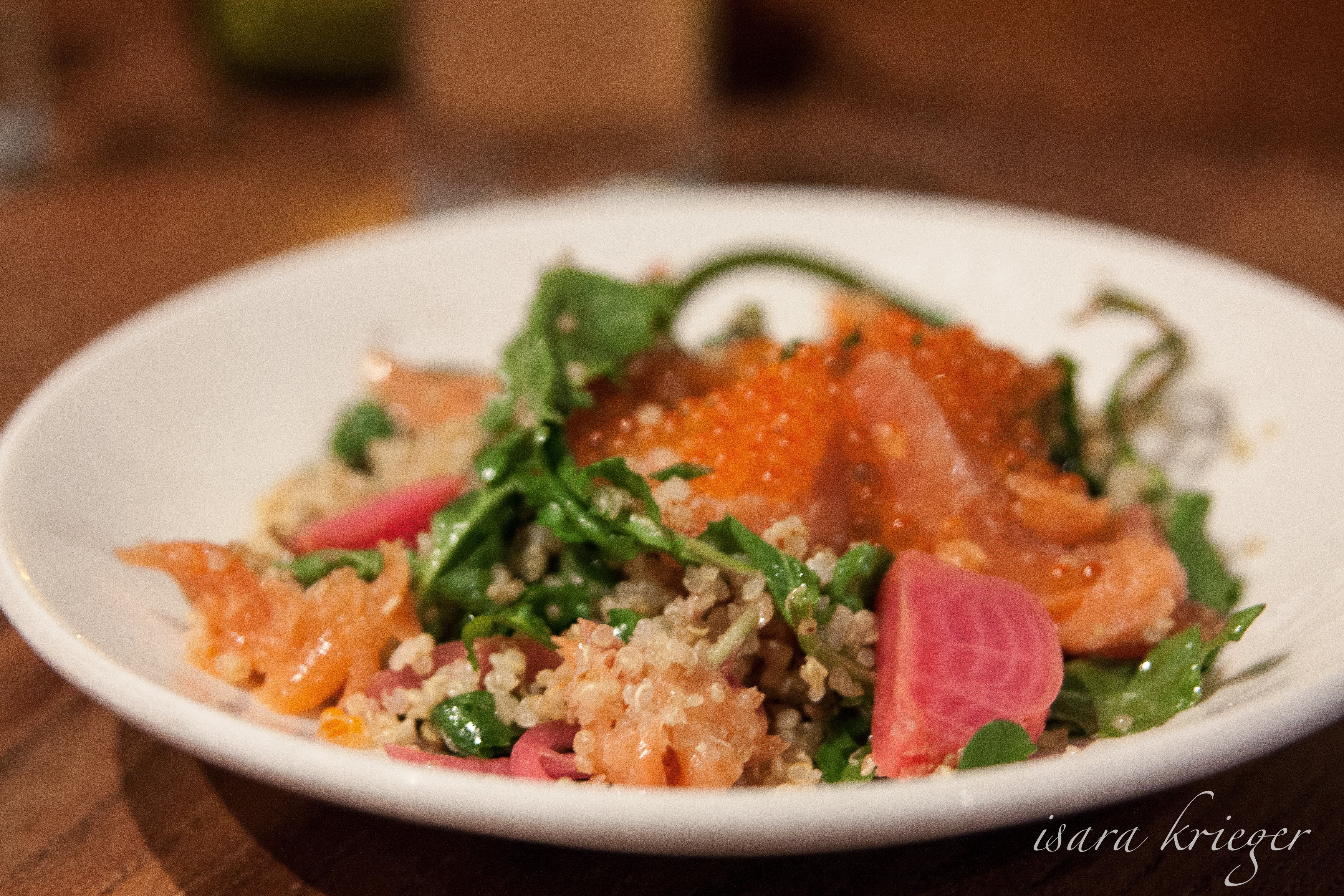 Toasted Quinoa, Smoked Trout, Hazelnuts, Snow Peas and Cara Cara Orange, $15.
